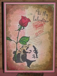 Rose Collage Valentine Card - Just For Fun Rubber Stamps