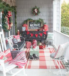 These vintage black, red and green Christmas front porch decorations are so pretty, Santa and Mrs. Claus had to check them out! Tour this gorgeous Christmas porch and 17 other festive porches decked out for the holiday. Christmas Tree Forest, Christmas Tree Farm, Cozy Christmas, Green Christmas, Beautiful Christmas, Vintage Christmas, Xmas, Country Christmas, Decks And Porches