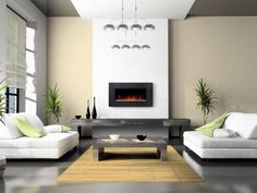Fascinating Living Room With White Fabric Sofa And Gray Coffee Table On Bamboo Carpet As Well Modern Fireplace Set On The Wall And Gray Flooring Dazzling Minimalist Living Room Design for Beautiful Living Space living room