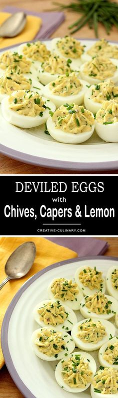 If you like deviled eggs, you'll love these Deviled Eggs with Lemon Zest, Capers and Chives. So flavorful and pretty to boot! via @creativculinary #DeviledEggs #Chives #Capers #Lemon #Appetizer #Holiday