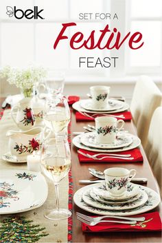 Set your table with holiday china sure to get your friends and family in the holiday spirit as they gather around for a festive meal this season. Go whimsical with snowman and Santa dinnerware, or add an elegant touch with Lenox® plates, mugs and more decorated with Christmas wreaths, cardinals and more, in as many table settings as you need. Shop holiday china in stores or at belk.com.