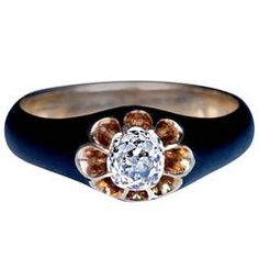 Antique Black Enamel Diamond Gold Unisex Ring