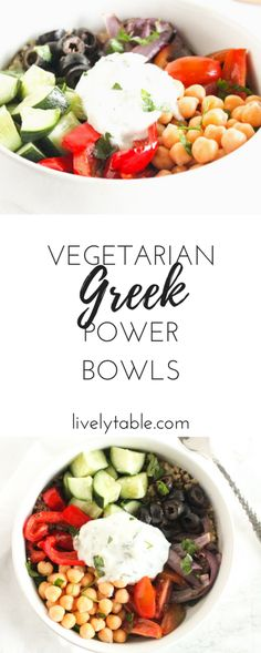 A healthy and delicious Greek Power Bowl packed with plant protein and bright Mediterranean flavors! (vegetarian, gluten-free)| Via livelytable.com