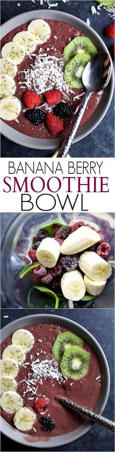 Healthy Smoothies Recipe - BANANA BERRY SMOOTHIE BOWL an easy delicious way to add protein, fiber, fruits, and veggies to your breakfast! Easily customize the toppings to your Smoothie Bowl. Tastes so good, you won't know it's healthy! Healthy Smoothies, Healthy Drinks, Healthy Snacks, Healthy Eating, Diet Snacks, Smoothie Recipes, Vegetarian Smoothies, Yogurt Smoothies, Fruit Snacks