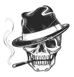 Gangster skull tattoo vector