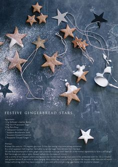 Festive gingerbread stars, tree decorations