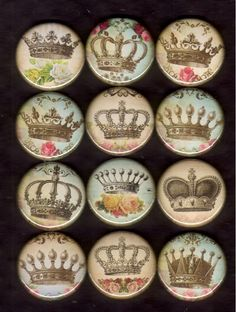 12 Vintage Style Crowns Flat back pin back or by popalicioustoo, $3.99... Really really cute