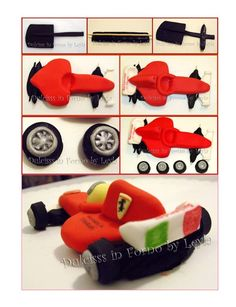 F1 Car. It is created by http://blog.giallozafferano.it/dulcisinforno/ferrari-f1-in-pasta-di-zucchero-tutorial-passo-passo/