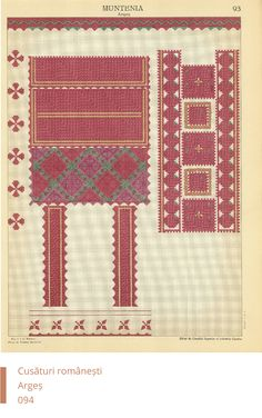Arges Decoration Folk Embroidery, Embroidery Patterns, Cross Stitch Patterns, Fabric Crafts, Bohemian Rug, Sewing, Fun, Folklore, Needlepoint Patterns