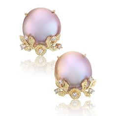 Russell Trusso, Pastel Freshwater Pearl, Diamond & Gold Garland Earrings