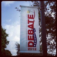 Debate banners on campus! 57 days for #lynndebate