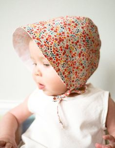 Make a sweet bonnet to shield baby from the sun. #DIY