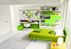 Furniture:Stunning Bedroom Design With Green Sofa Bed And Gray Carpet Glass Windows White Interior Wall Space Saving Furniture Ideas to Deco. Small Room Bedroom, Girls Bedroom, Bedroom Ideas, Small Rooms, Kids Rooms, Closet Bedroom, Small Space, Murphy-bett Ikea, Bed Ikea