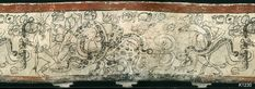 "Underworld sacrifice scene, with God ""A-prime"" decapitating himself, as underworld beings Deer and Venus Jaguar, draped in serpents, look on.  (the mouth of Jaguar is over-painted, and God A-Prime's face is depicted full frontal view, rare on Mayan painted vessels) copyright Justin Kerr K1230"