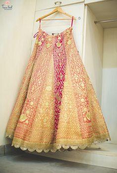 Bridal Lehenga - Pastel Striped Lehenga with Dull Gold Embroidery | WedMeGood #wedmegood #indianbride #indianwedding #bridal #lehenga #indianlehenga #bridallehenga