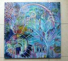 Acrylic painting canvas 50 x 50 x 1.7 intuitive painting