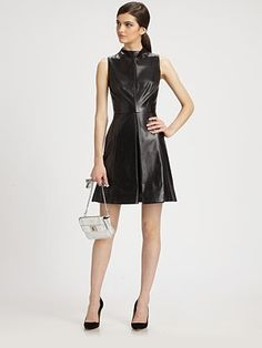 pretty out of my league Milly - Leather Funnelneck Dress - Saks.com