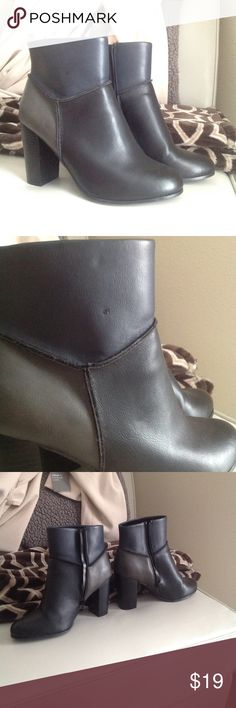 Parker & Sky NWOT trio color heeled booties Only worn inside (tried on) but I'm studying abroad and need to sell as much as possible! Second photo shows a small mark on the boots that was there when i bought them at Nordstrom. Black with a gray and navy section parker & sky Shoes Ankle Boots & Booties