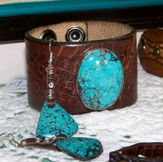 Rowdy Cowgirl antique Leather and Turquoise Cuff and Matching Earrings