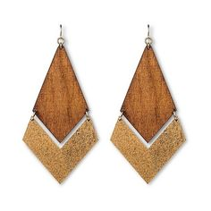 Women's Natasha Accessories Imitation Gold  Wooden Earring ($15) ❤ liked on Polyvore featuring jewelry, earrings, brown, fake earrings, wood jewelry, brown gold jewelry, fake gold jewelry and gold earrings