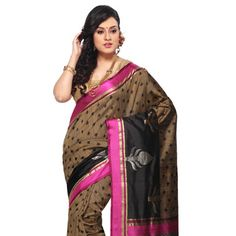 Beige and Black Pure Handloom Banarasi Silk Saree with Blouse