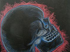 Colored Pencil Skull drawings - Middle School