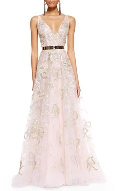 Stunning Oscar de la Renta Sleeveless Bow-Embroidered Gown