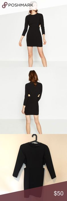 NWT Zara black cut out shift dress long sleeve New with tags! Sold out in stores. No trades Zara Dresses Long Sleeve