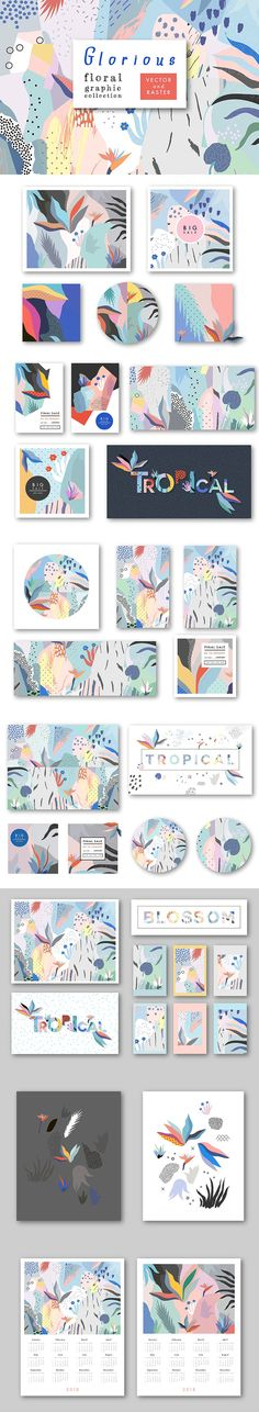Fresh #artistic collection with #floral #patterns, headers, cards, #invitations, #posters, calendars. - Great for #packaging, #wedding and #birthday cards, invitations, product #branding, #magazines, #prints and #posters, headers, sale #banners and more. #abstractart #artistic #creative #abstract