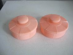 Pair Vintage Moonglow Products, USA  Art Deco Plastic Pink Powder, Trinket Boxes