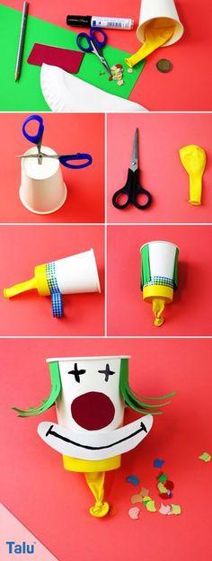 Clowns basteln - Konfetti-Kanone - Talu.de Diy And Crafts, Crafts For Kids, Paper Crafts, Kindergarten, Christmas Ornaments, Holiday Decor, Crafting, School, Craft Kids