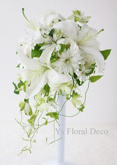 ユリ、デンファレ、クレマチスのティアドロップブーケ ys floral deco @東京ステーションホテル