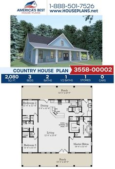 This Country design could be your forever home! Plan 3558-00002 is highlighted by 2,080 sq. ft., 3 bedrooms, 2.5 bathrooms, a covered porch, a kitchen island, an open floor plan. Go to our website to learn more about this Country home design today. Country House Design, Country House Plans, Floor Plan Drawing, Cost To Build, Dormer Windows, Construction Cost, Best House Plans, Build Your Dream Home, Open Floor