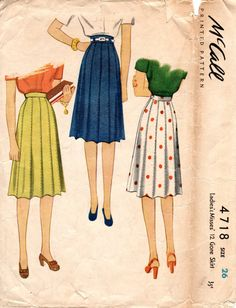 1940s Gored Paneled Skirt Pattern  Vintage McCall by ErikawithaK