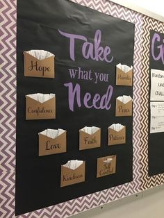 Give and Take Bulletin Board Free resources and activities for middle school and high school English teachers. Literature writing grammar poetry and more! The post Give and Take Bulletin Board appeared first on School Diy. Classroom Design, Future Classroom, Classroom Organization, Classroom Management, Highschool Classroom Decor, High School Classroom, School Counselor Office, School Nurse Office, School Counselor Organization