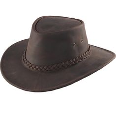 Crocodile Dundee would feel right at home in this genuine leather cowhide  hat with neat braided 4c83b38fa534