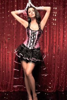 5b0956b689 Atomic two piece burlesque queen corset dress set featuring a hot pink corset  top with lace