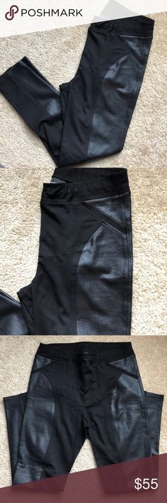 """INC- pull on style pants - black with trim -12 These are from my personal closet. Worn once. Size 12 INC from Macy's black pull on style pants with trim. Slim leg style. Stretchy. Really cute pants.   Measures- waist size 16"""" inseam-29"""" bottom pant opening- 5.5""""  Smoke free home INC International Concepts Pants Skinny"""