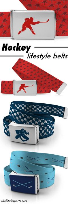 Hockey belts that can be customized for you. Choose your color and add personalization. Tons of hockey designs to choose from. A perfect hockey gift idea for player, fans or for the whole team. #hockey