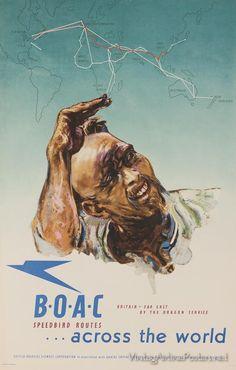 BOAC Speedbird Routes across the world Retro Airline, Airline Travel, Vintage Airline, Air Travel, Aeropostale, Frank Kafka, Retro Poster, British Airways, Vintage Travel Posters