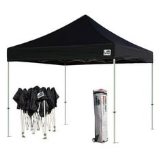 Eurmax Basic 10 X 10 Pop up Canopy - Portable Event Outdoor Canopy Wedding Party Tent Quick Shelter + Wheeled Carry Bag, Black