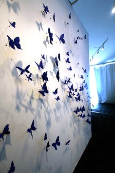 """These beer can butterflies are the work of Paul Villinski. Accoring to Villinski: """"These pieces explore themes of transformation and recovery… Community Project Ideas, Donor Wall, Butterfly Room, Collaborative Art, Environmental Graphics, Pencil Art Drawings, Custom Wall, Wire Art, Installation Art"""