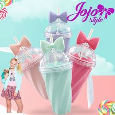 New Fashion Cool Bowknot Summer Hot Sale Ice Cup With Straw My Water Gel Bottle Bpa-free Twisted Straw Cup Plastic Cup With Straw, Water Bottle With Straw, Jojo Siwa Birthday, 5th Birthday, Birthday Ideas, Birthday Cake, Cute Water Bottles, Juice Bottles, Plastic Bottles