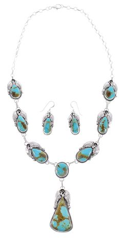Kingman Turquoise Native American Sterling Silver Scalloped Leaf Link Necklace Earrings Set http://www.silvertribe.com/
