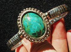 Rare Parrot Wing Jasper Cabachon stretch watch band like bracelet -- 20% of $25 USD