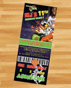 PRINTABLE Space Jam Ticket Invite - LooneyToons- Custom Birthday Invitation - Tune Squad - Reality Worlds Tactical Gear Dark Art Relationship Goals Baby Boy 1st Birthday, First Birthday Parties, Birthday Celebration, Birthday Party Themes, First Birthdays, Birthday Ideas, Elmo Party, 13th Birthday, Birthday Decorations