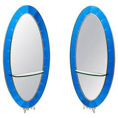 Pair of Italian Cristal Arte Blue Glass Mirrors, circa 1955