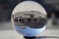 Colonnes de Buren in a ball - Reflection in a cristal ball #blue #sky #Colonnes #de #Buren #cristal #ball #France #Palais-Royal #Paris #reflection