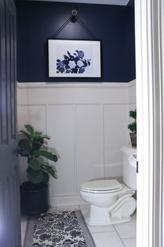 Navy Bathroom Makeover - Behr, Dark Denim.  Lovely!