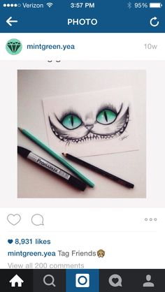 Love love love this Cheshire Cat (Alice in Wonderland) drawing. Favorite thing to draw! Alice in Wonderland Amazing Drawings, Cool Drawings, Drawing Sketches, Amazing Art, Drawing Ideas, Pencil Drawings, Sketching, Drawing Tips, Awesome